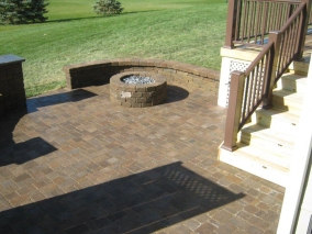 Custom patio and gas fire pit in Abolite township