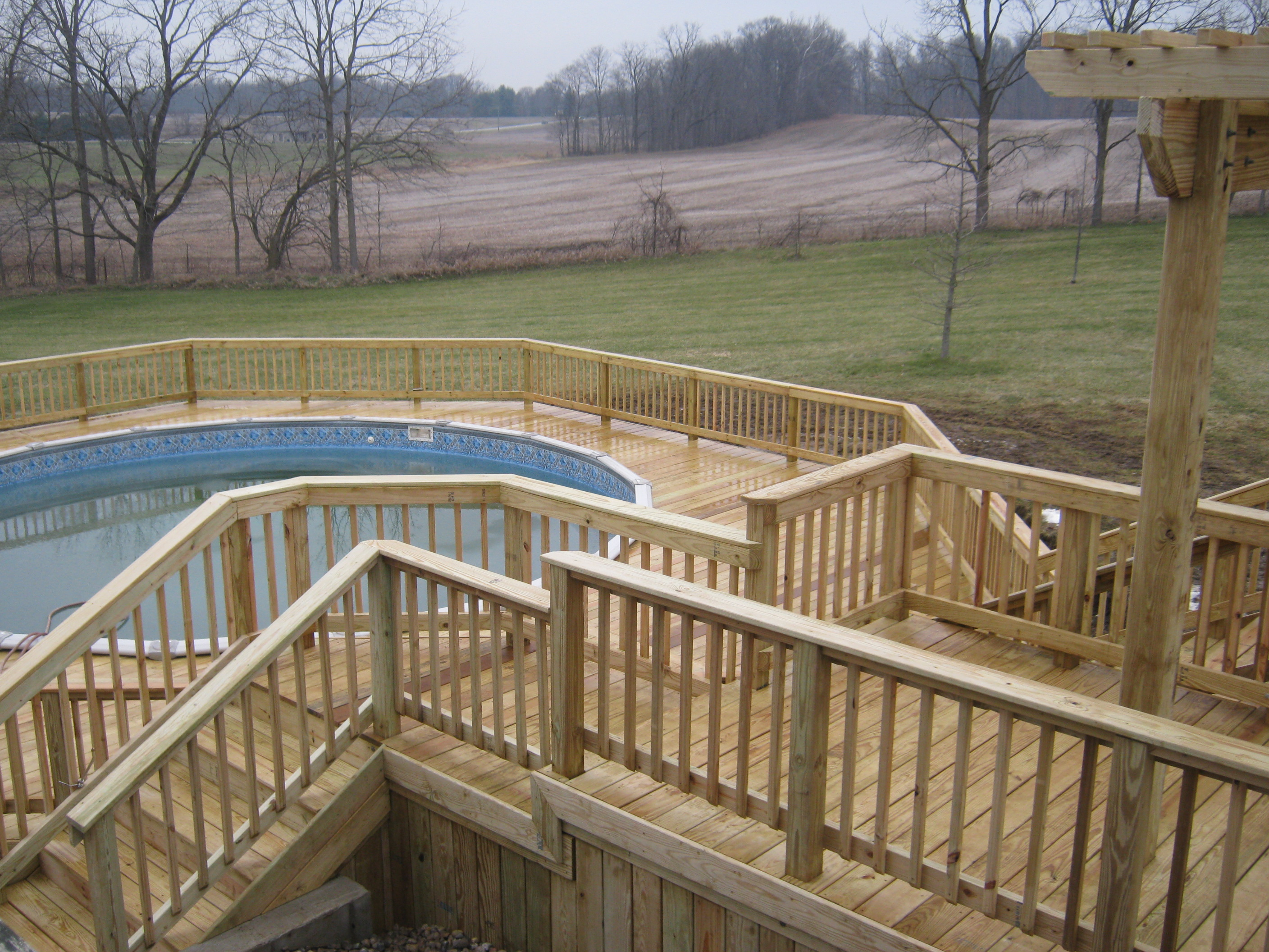 Columbia city house now connected to pool with new decks for Multi level deck above ground pool