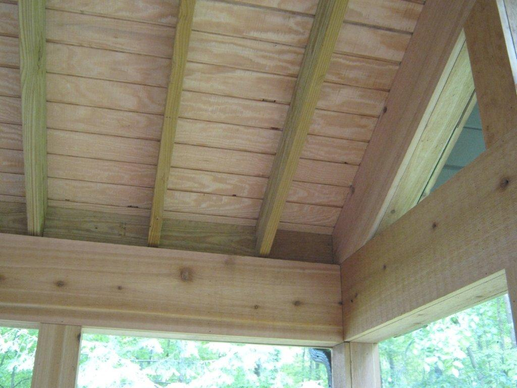 Porch ceilings in fort wayne in open porches and screened for Balcony ceiling
