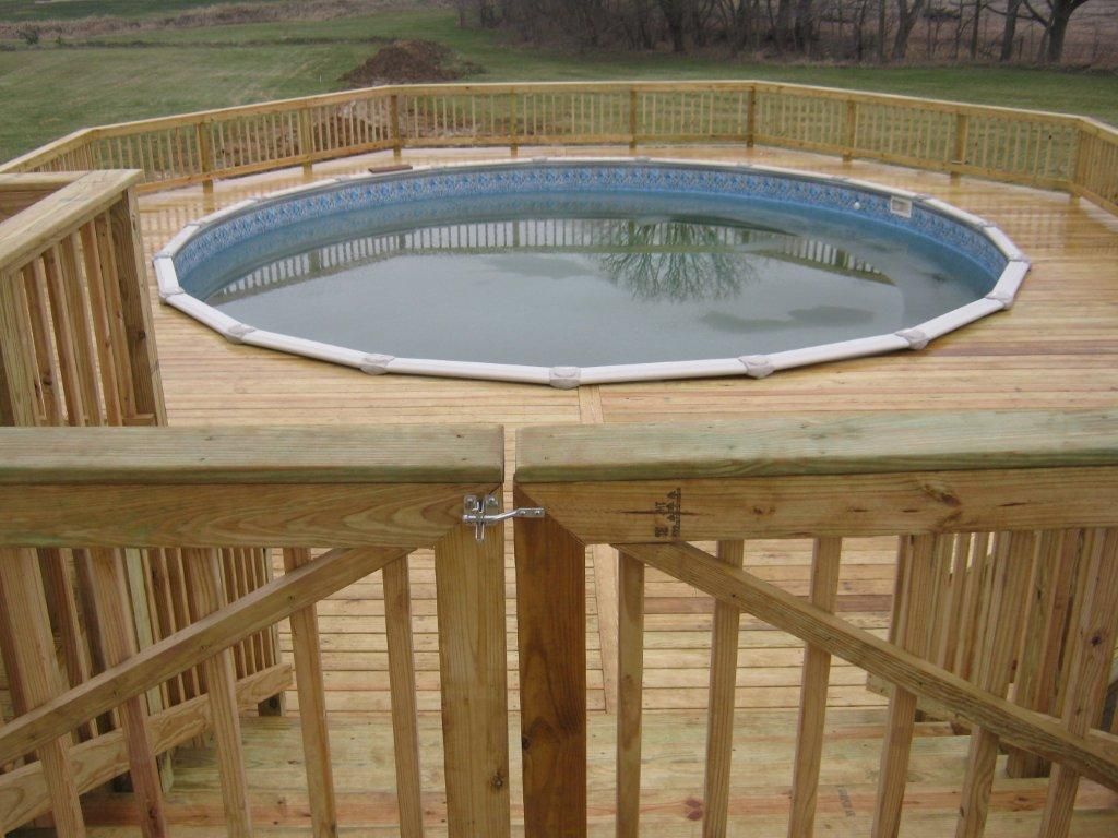 Have archadeck of ft wayne build your pool deck for Above ground pool with decks
