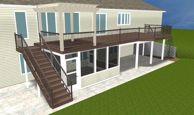 A brand new ft wayne area second story deck with pergola and lower level screened area - Two story house plans with covered patios ...