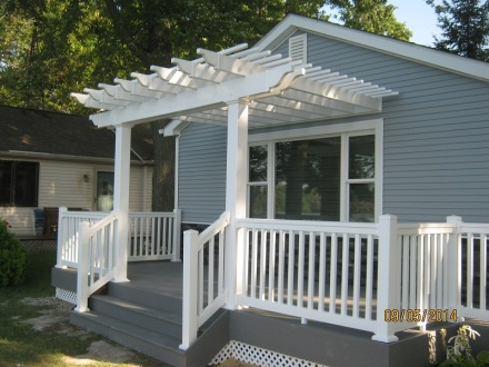 Trex deck and beautiful low maintenance pergola in Lagrange County IN
