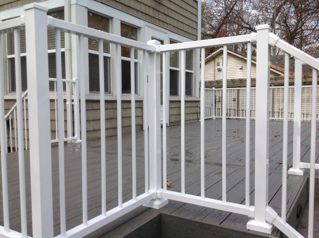 Railing detail on Crooked Lake deck addtion in Fort Wayne, IN.